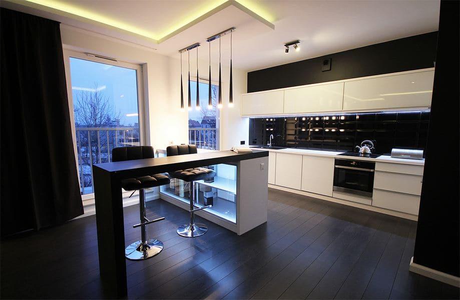 Nowoczesna biało czarna kuchnia w minimalistycznym stylu -> Kuchnia Bialo Czarno Turkusowa