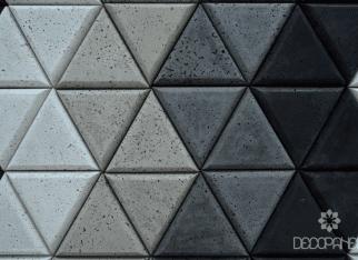 szary beton architektoniczny,trójkąty z betonu 3d
