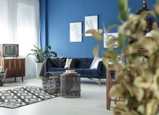 aranzacja-salonu-niebieska-sciana