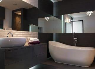 Elegant fixture in luxurious beathroom