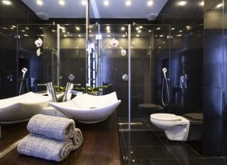 Black bathroom with shower
