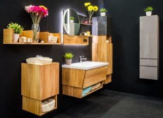 Interior luxury bathroom in classic style in dark tones