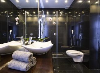 Black bathroom with shower