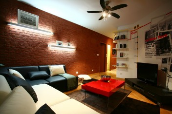 Czerwona cegła na ścianie