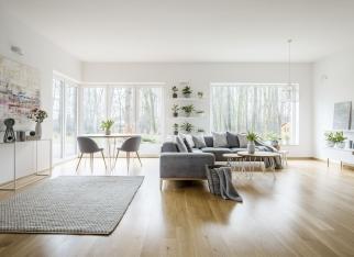 White elegant living room interior with windows, grey corner sofa and modern art posters