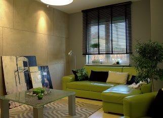 Zielona kanapa do salonu