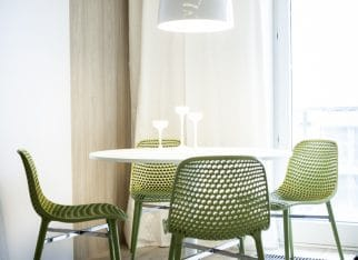 Zielone krzesła w kąciku jadalnianym