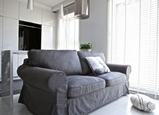 Szara sofa w mini-salonie