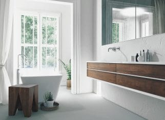 Modern bright sunny white bathroom interior