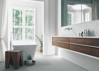 Modern bright sunny white bathroom interior