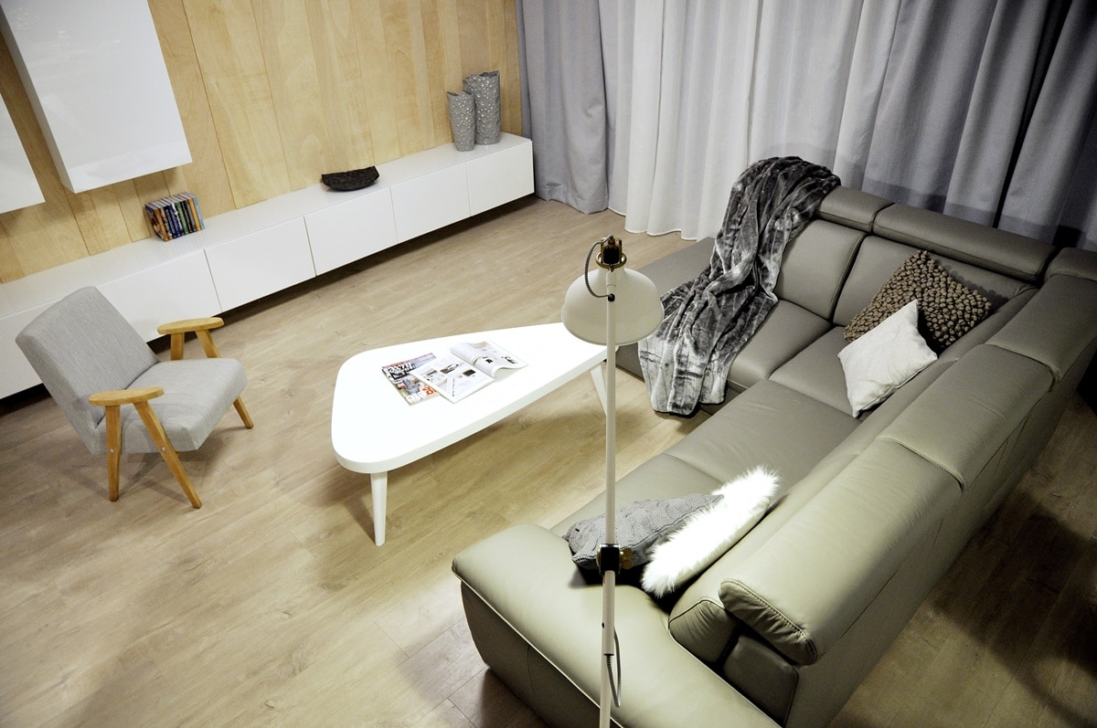 salon z aneksem w stylu skandynawskim deko. Black Bedroom Furniture Sets. Home Design Ideas