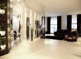 Monochromatyczny salon