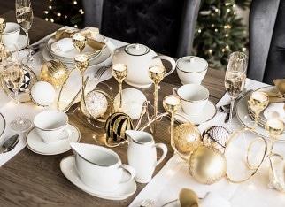 Złote dekoracje świąteczne