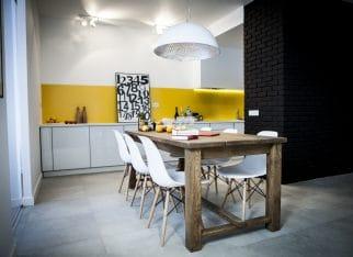 Żółta ściana w kuchni
