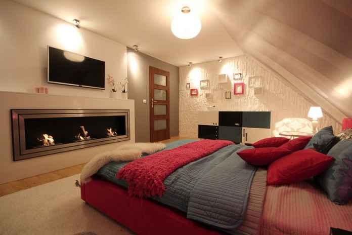 Zobacz jak biokominek w sypialni nadaje wnętrzu ciepła i nastrojowego klimatu.