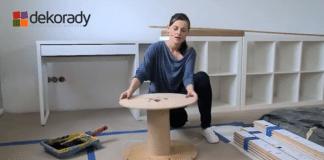 Zobazc wideo, na którym pokazujemy jak zrobić stolik ze szpuli do pokoju dziecięcego.