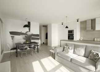 Nowoczesna, jasna przestrzeń: salon z jadalnią i kuchnia w bieli i szarościach. Oto nasz przepis na druciane krzesła.