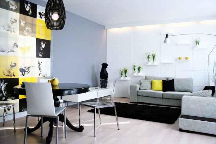 Szukasz pomysłu na salon w monochromatycznych odcieniach z kolorowym akcentem? Zapraszamy!