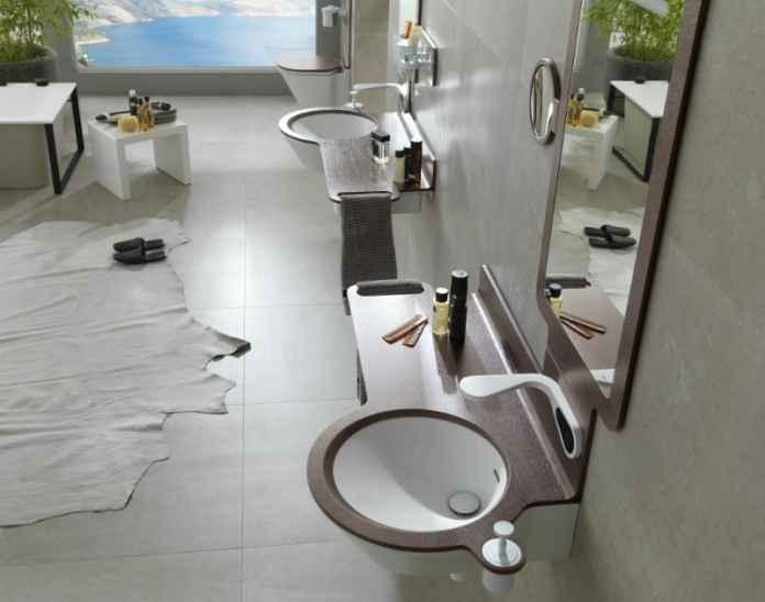 Armatura i ceramika w stylu futurystycznym do nowoczesnej łazienki.
