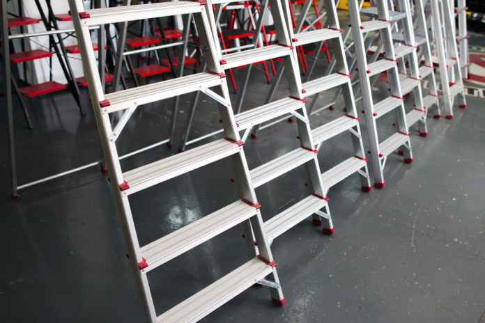 Step ladder display on tool store (shop)