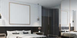 White bedroom interior, poster side