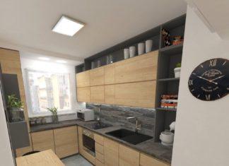 mała kuchnia i łazienka