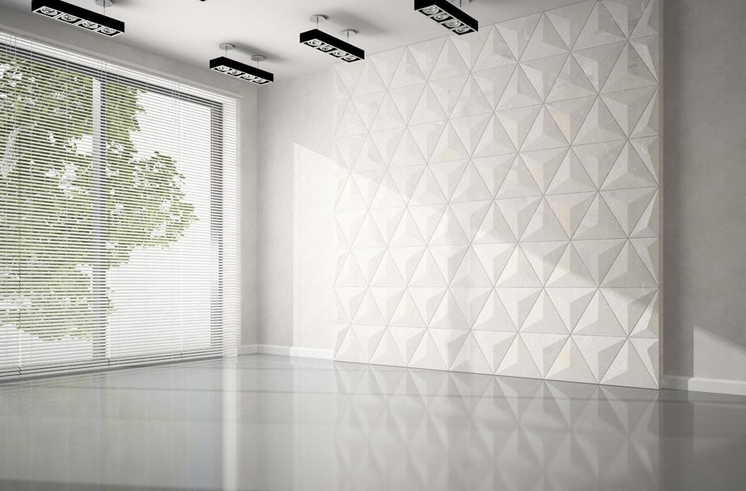 Panele 3D na ścianie za telewizorem