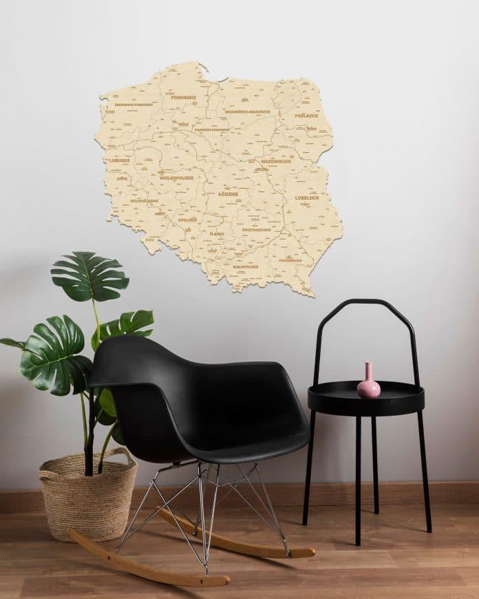 Drewniane mapy na ścianę