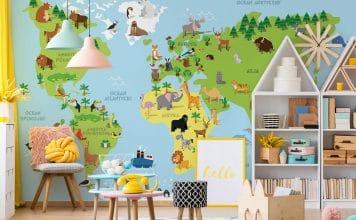 Fototapeta bajkowa mapa świata