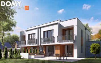 Biały dom z płaskim dachem, bliźniak
